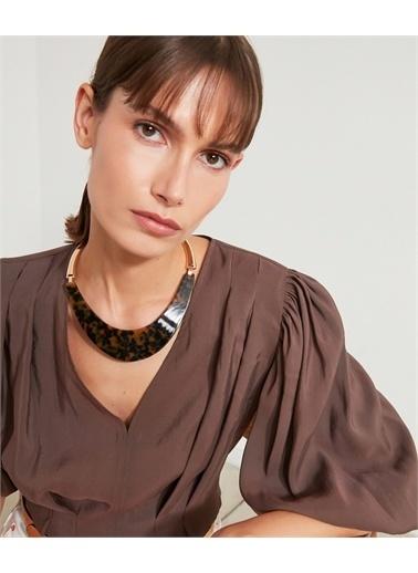 Ipekyol Ipekyol Is1210051021265 Desenli Plakalı Kadın Choker Kolye Renkli